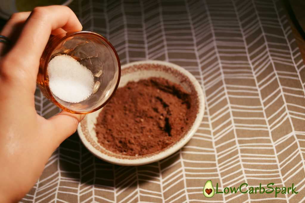 add sweetner Super Easy Keto Chocolate Brownie Mug Cake