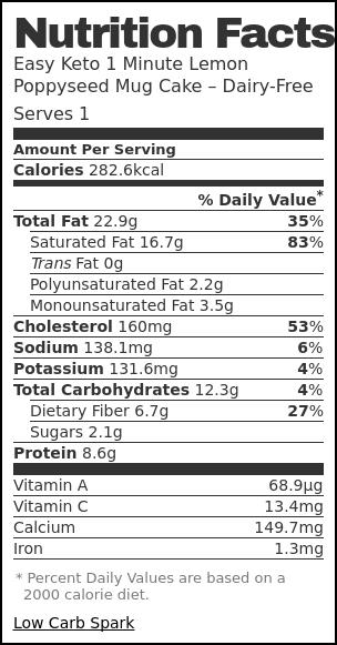 Nutrition label for Easy Keto 1 Minute Lemon Poppyseed Mug Cake – Dairy-Free