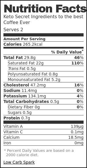 Nutrition label for Keto Secret Ingredients to the best Coffee Ever