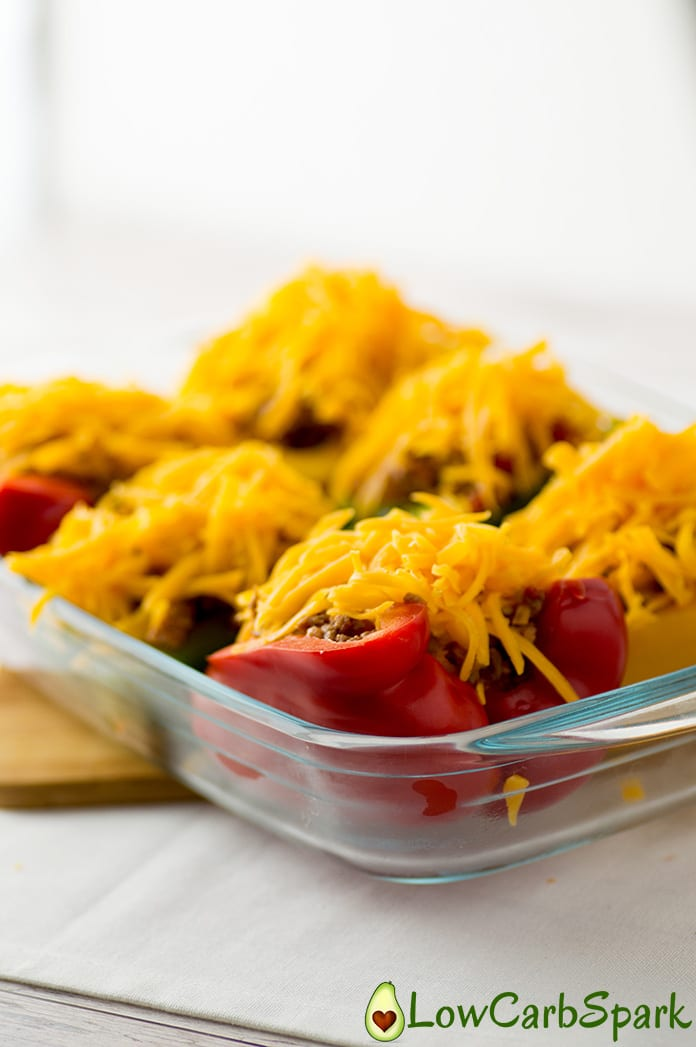 add keto cheese over the peppers