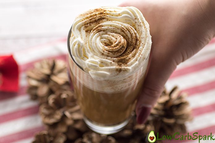 keto coffee decorated with with whipping cream