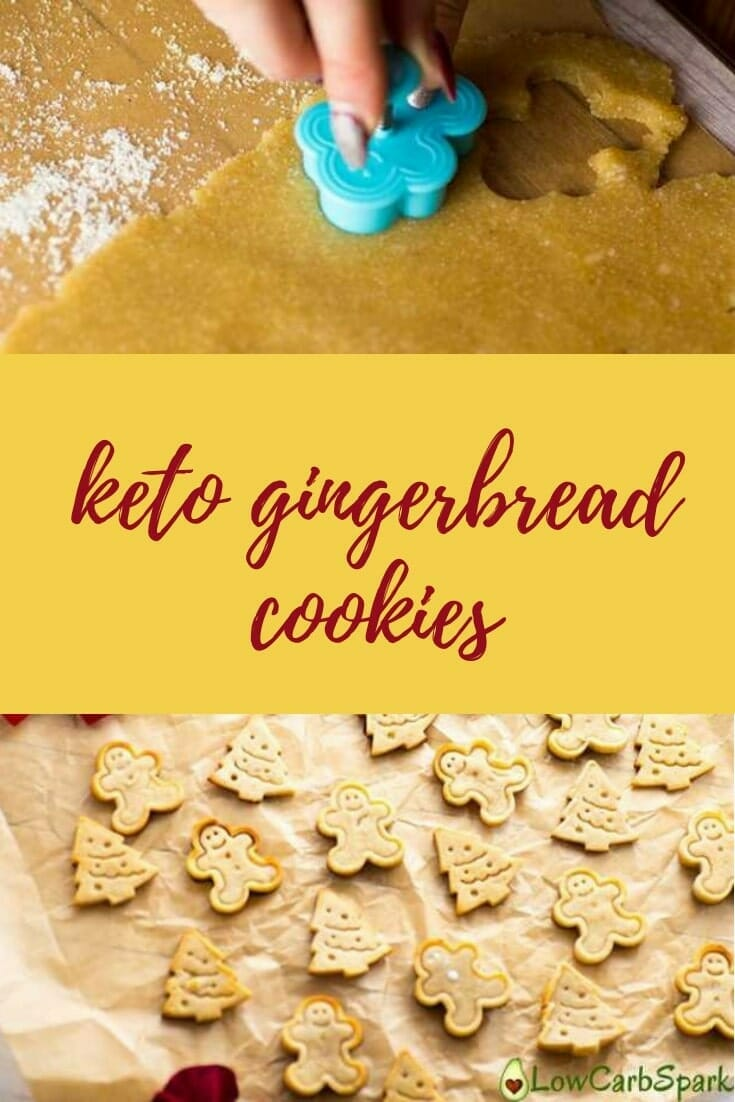 Learn how to make keto gingerbread cookies for Christmas. Amazing low carb cookies to share with friends and family. A quick gluten-free dessert! #keto #ketodiet #ketorecipes #ketocookies #glutenfree #lowcarb