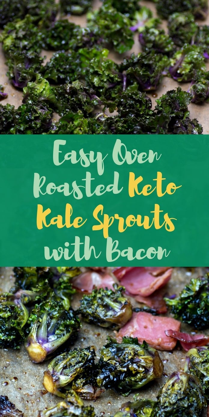 Easy Oven Roasted Keto Kale Sprouts with Bacon pinterest