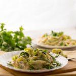 high fat keto alfredo creamy zucchini noodles