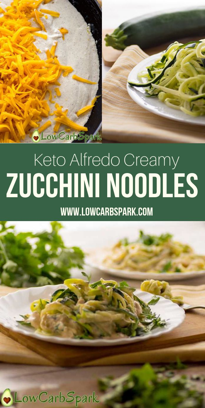 Keto Alfredo Zucchini Noodles are so easy to make, delicious and refreshing. Enjoy zucchini pasta with fewer carbs and cover them in a creamy alfredo sauce. Just 5 ingredients and you can enjoy a filling and tasty keto lunch or dinner. It\'s my favorite way to serve zoodles!