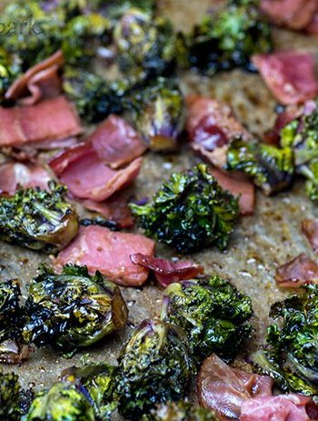 Easy Oven Roasted Keto Kale Sprouts with Bacon