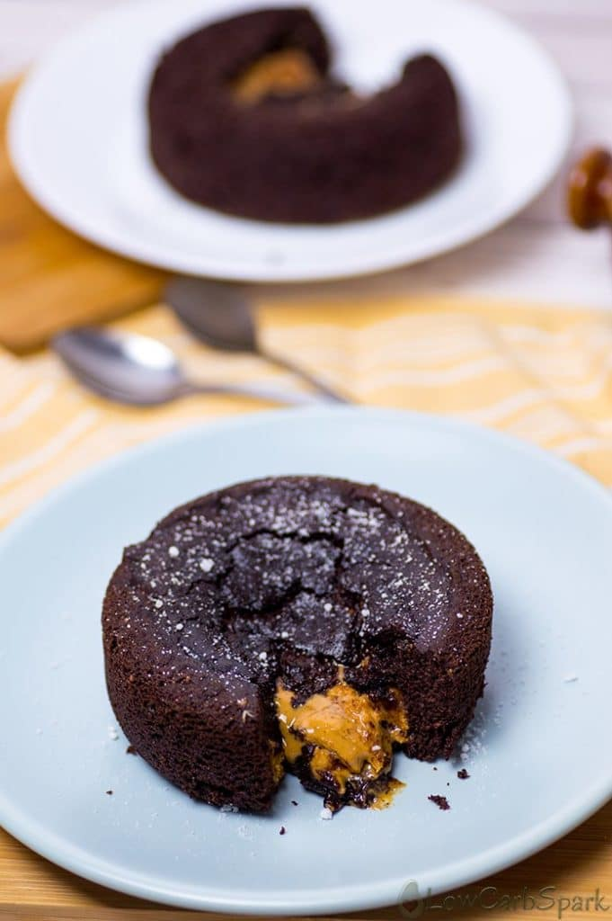 This keto peanut butter lava cake it's incredibly moist, easy to make, fudgy with a creamy peanut butter lava in the middle. It's made with coconut flour, so it's perfect for those with an almond allergy. It's also paleo and dairy-free.