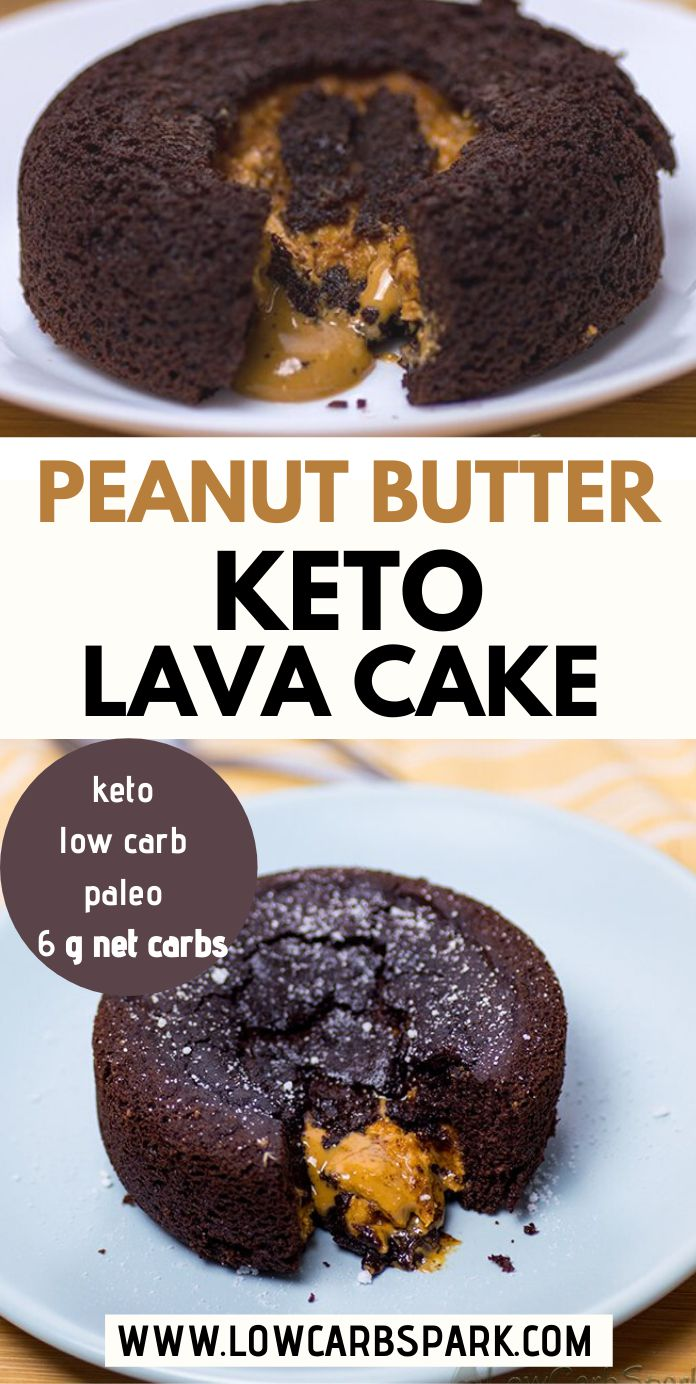 This keto peanut butter lava cake it\'s incredibly moist, easy to make, fudgy with a creamy peanut butter lava in the middle. It\'s made with coconut flour, so it\'s perfect for those with an almond allergy. It\'s also paleo, dairy-free, and just 6g net carbs. #ketorecipes #ketolavacake
