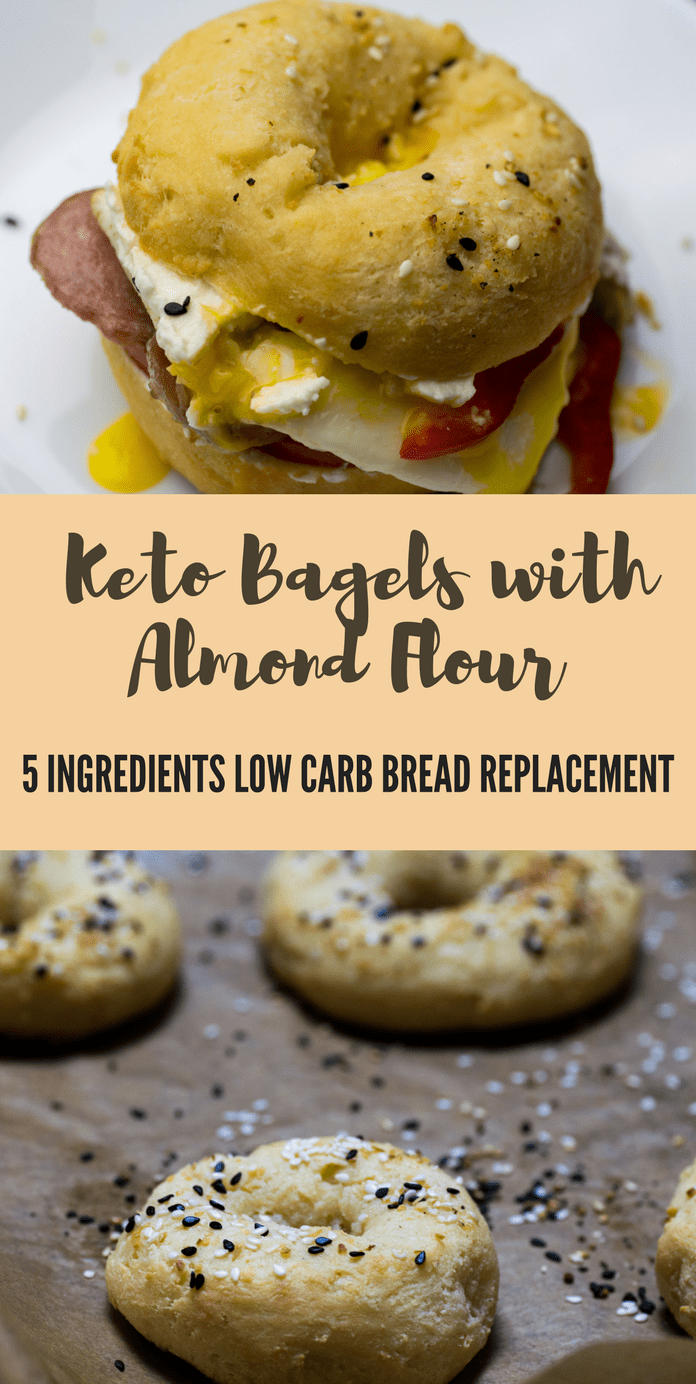 A super easy five-ingredient keto bread replacement made with fathead dough or mozzarella dough. Enjoy these 5 ingredients keto bagels for breakfast or lunch. They are also gluten-free, low in carbs and insanely tasty. #ketobagels #ketobread