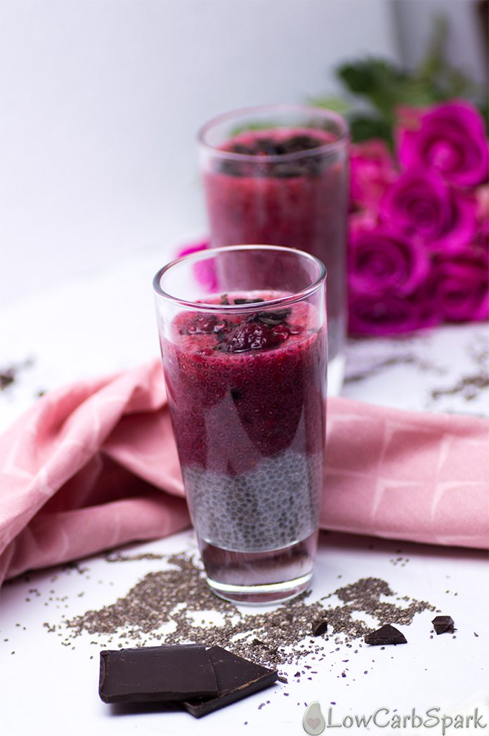 Easy Keto Raspberry Vanilla Chia Pudding - Only 2g NET carbs