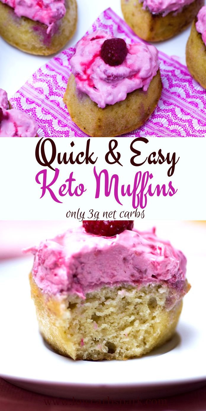 These keto muffins are moist, delicious and the frosting is absolutely incredible. Each low carb muffin has only 3grams net carbs including the frosting and raspberries. It\'s hard to believe that you can have low carb muffins that are so tasty and easy to make. #ketomuffins #lowcarbmuffins
