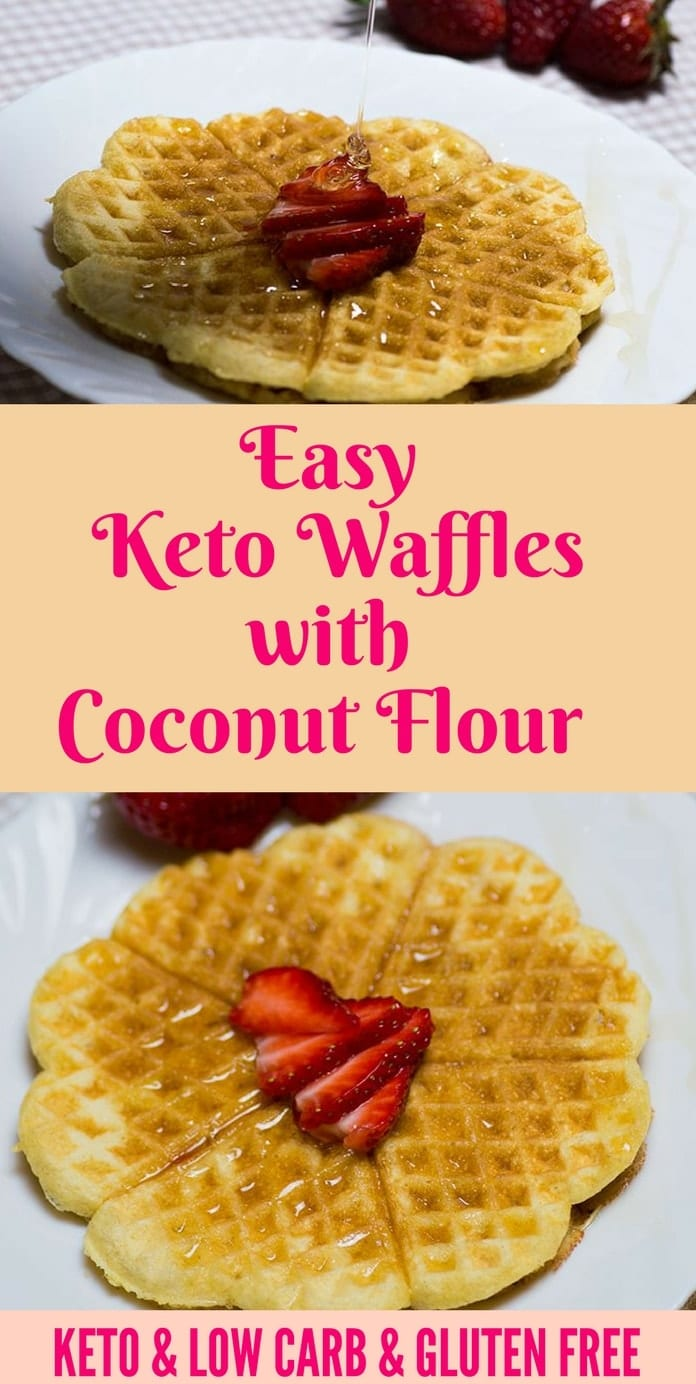 These keto waffles are fluffy,  delicious, extremely easy to make and only 3g net carbs each. Enjoy some extra fluffy waffles as your morning treat! #ketowaffles #ketobreakfast Recipe via @lowcarbspark