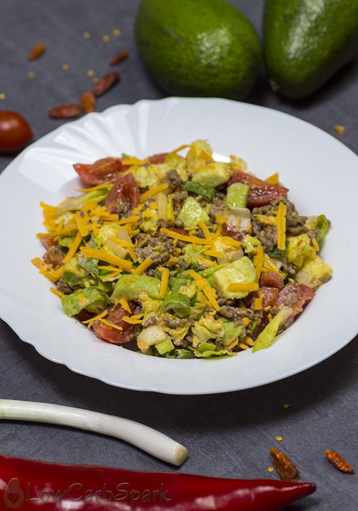 Healthy and Easy Taco Salad with avocado - Low Carb, Keto, Gluten-free
