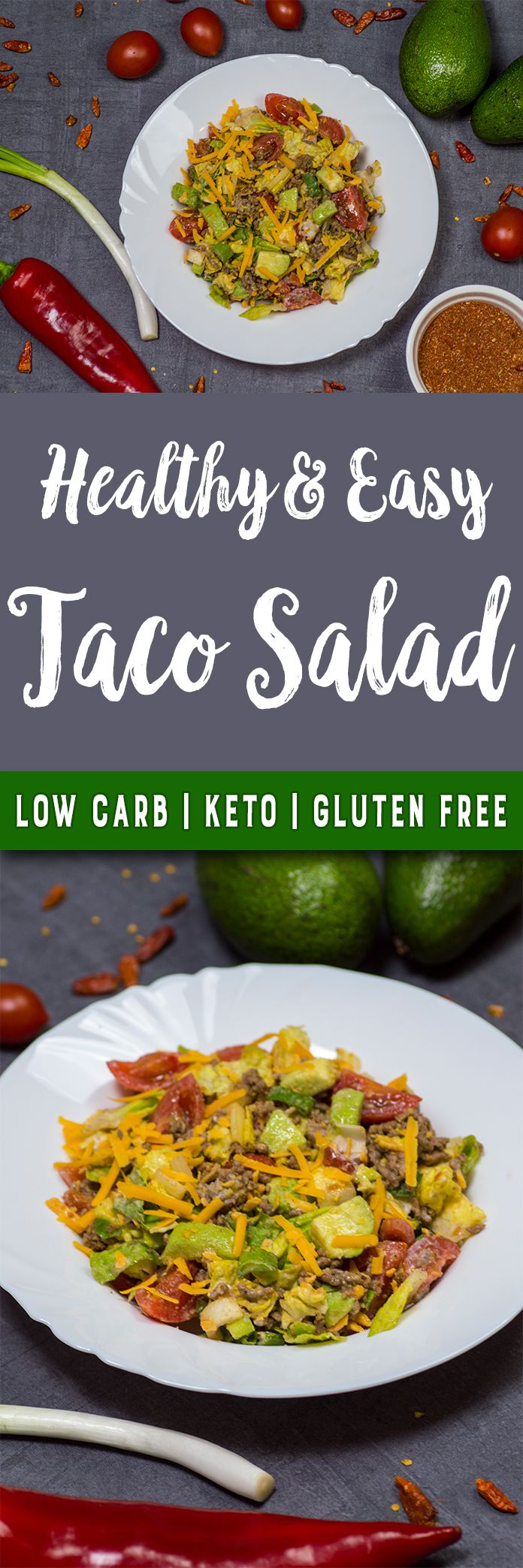 This keto taco salad is ready in just 20 minutes only with wholesome ingredients. If you are craving a delicious, creamy, and spicy Mexican dish, you should definitely try this easy salad. A super easy yet delicious and healthy taco salad recipe that you will instantly love. This salad is ready to eat in only 20 minutes and has only 4g net carbs per serving. It\'s a great alternative to a high carb meal when craving Mexican food.