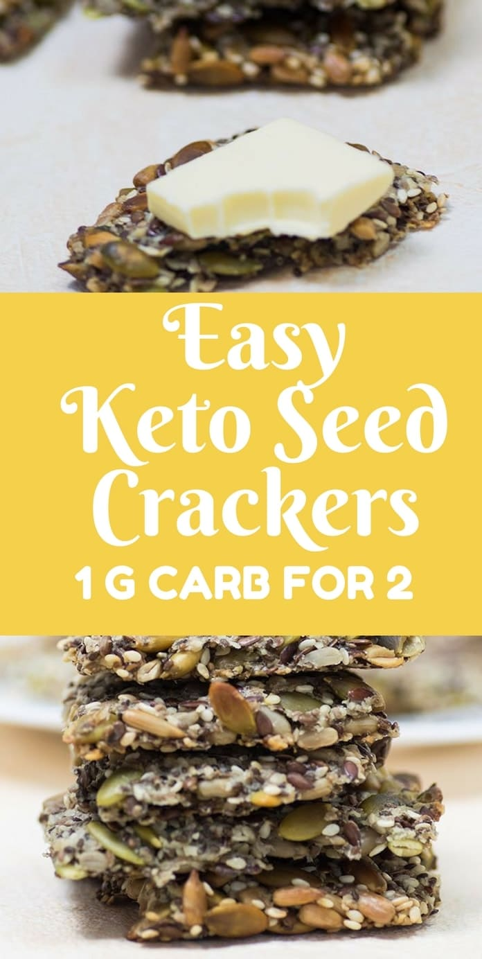 I am sharing a crunchy and delicious seed crackers recipe that can be used as a low carb snack. A serving of two crackers has only one g net carbs making them the perfect keto snack. Great for a paleo diet or for anyone looking for low carb snacks.