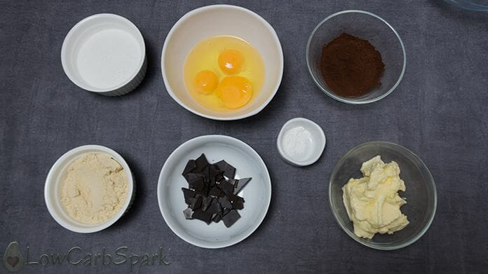 ingredients for the keto brownies with almond flour