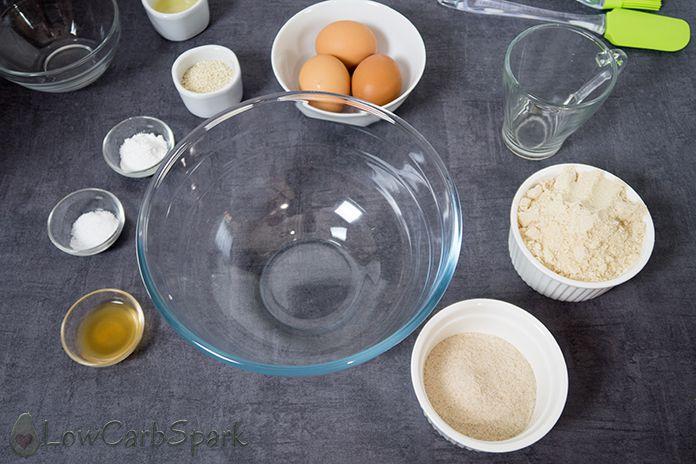 keto bread ingredients with psyllium husks and almond flour