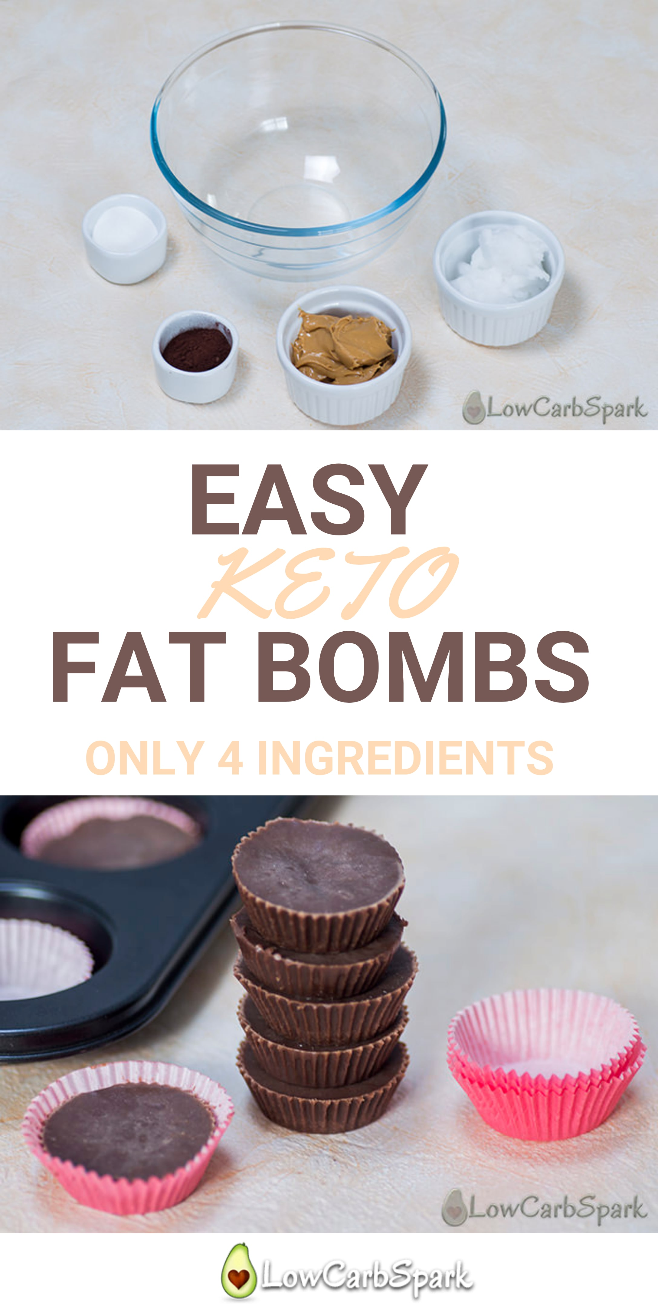 Fat bombs are a great way to increase the fat intake in the ketogenic diet. Create a quick sweet low carb snack with only 4 ingredients. #keto #ketosnack #ketosis #ketodiet #ketogenic #lowcarb