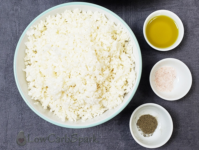grated cauliflower rice and low carb ingredients