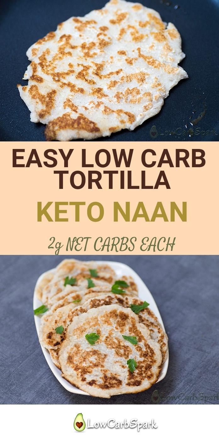 Easy Low Carb Tortilla - Keto Naan Bread - Egg-Free & 2g net carbs. An easy keto tortilla recipe with coconut flour and psyllium husk powder. Each tortilla has only 2g net carbs #ketobread #ketosis #ketodiet #ketorecipes