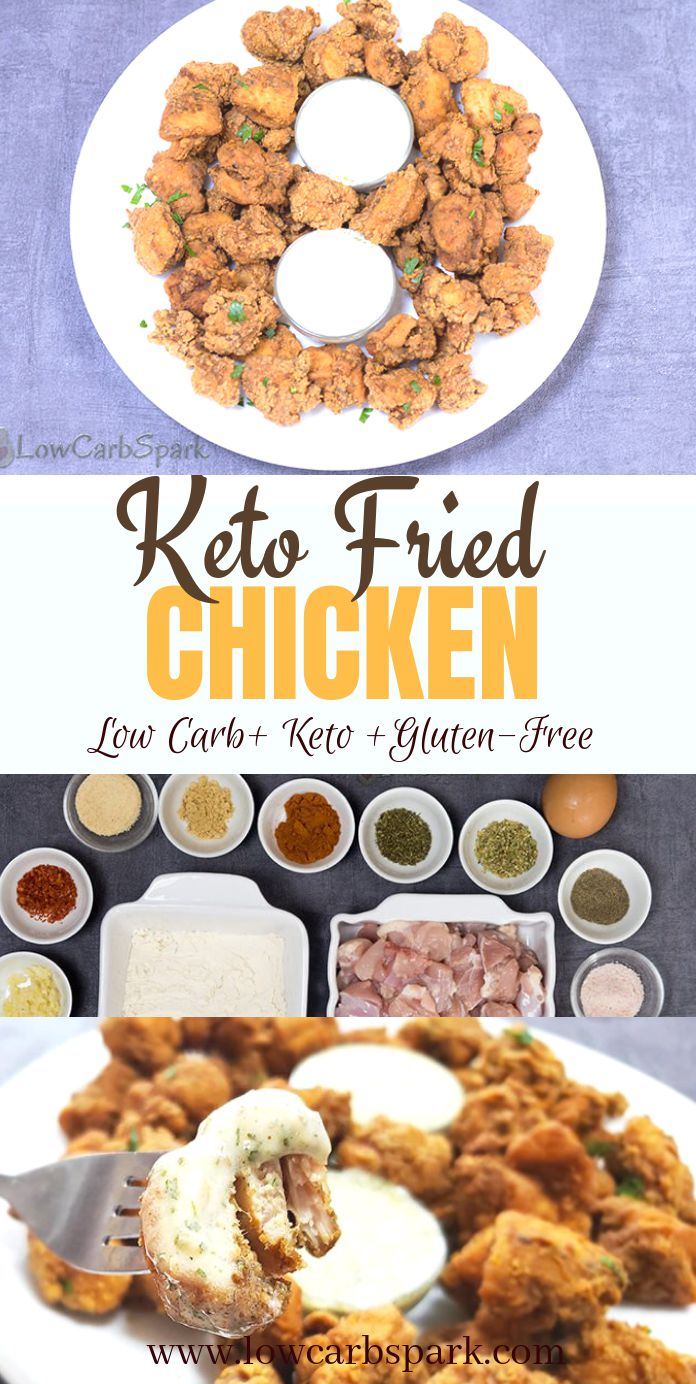 This keto fried chicken is extremely crispy, succulent, full of flavor and a crowd-pleaser. The almond flour low carb breading is super easy to make. Enjoy fried chicken for lunch with a side of cauliflower mash. #friedchicken #ketofriedchicken