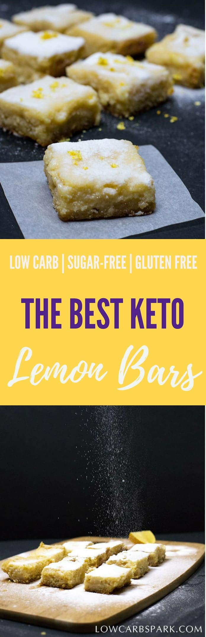 Keto Lemon Bars Recipe - Try these easy, sugar-free lemon bars that have only 2g net carbs and very tasty! You will never believe they are keto friendly, low calories, low carb and sugar-free! | #Glutenfree #Lowcarb #keto #sugarfree #healthy via @lowcarbspark