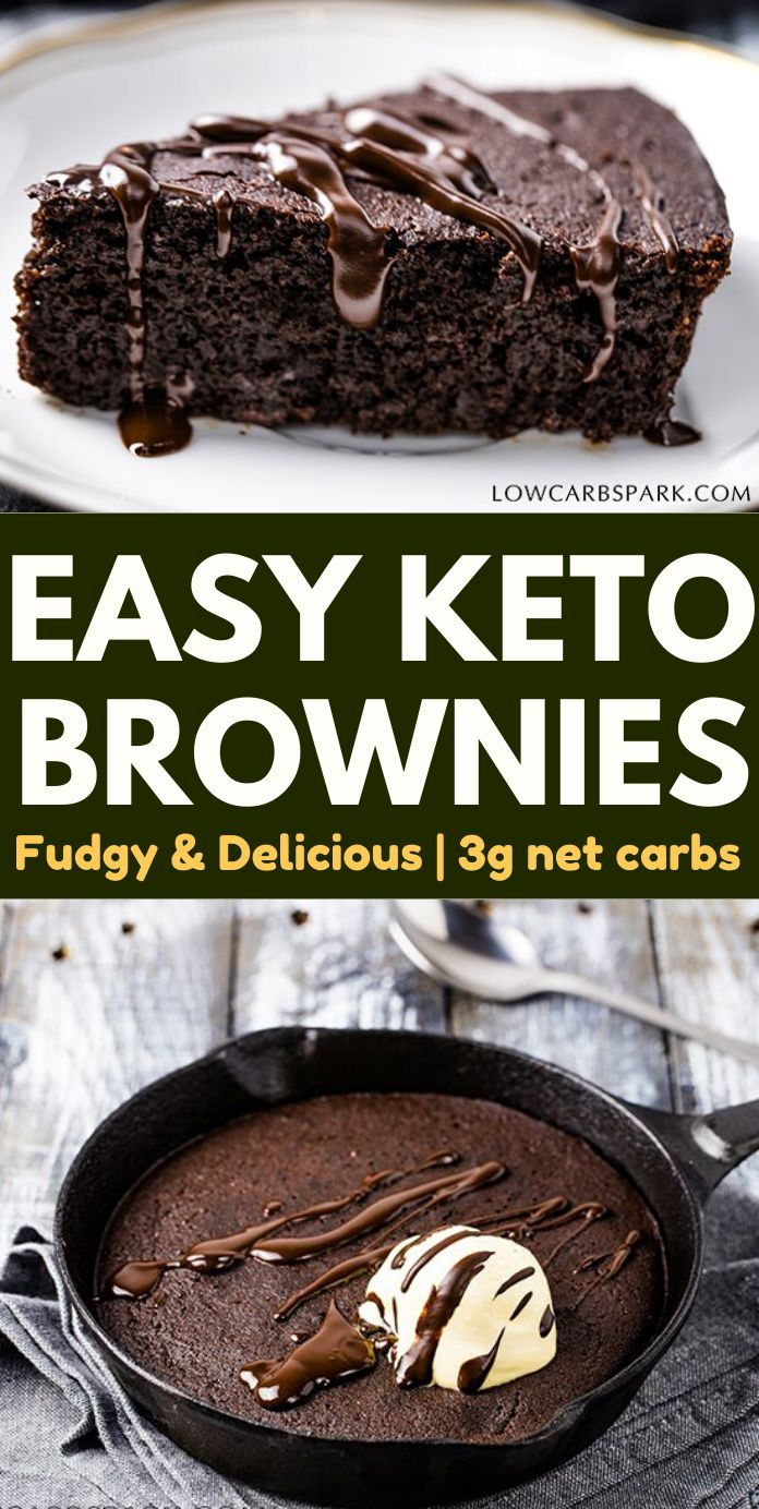 Enjoy a low carb #keto brownie in a skillet. You have to try these absolutely fudgy brownies with coconut flour. Super easy to make and #lowcarb. #ketodiet #ketorecipes #ketobrownies #ketodessert | recipe via @lowcarbspark