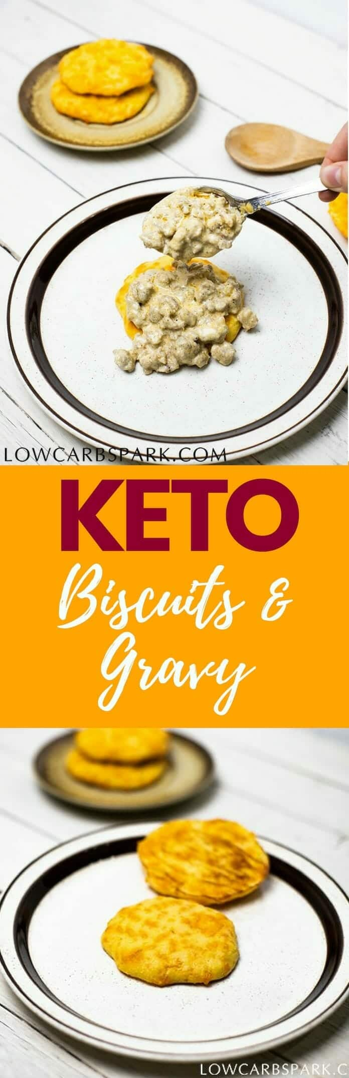 A delicious keto breakfast recipe: keto biscuits and keto gravy. Learn how to make keto biscuits from scratch and delicious sausage gravy. Each serving has 4 net carbs and tons of fat to keep you full for longer. lowcarbspark.com | via @lowcarbspark #ketorecipes #ketogravy #ketobiscuits #biscuits #lowcarb