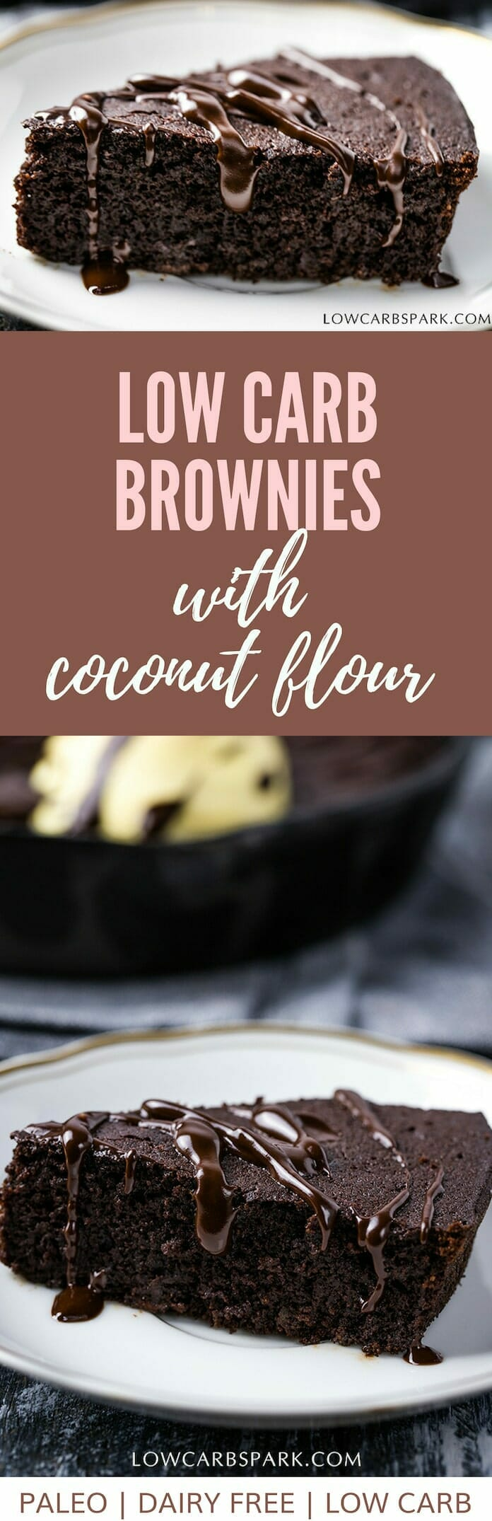 Enjoy a low carb #keto brownie in a skillet. It is so easy to make and super fudgy. If you are allergic to #almondflour, that\'s not a problem because to make the #ketobrownie you will need coconut flour.