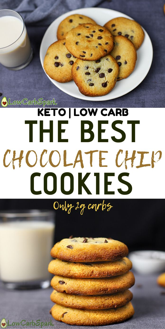 These 2g net carbs keto chocolate chip cookies are crispy on the edges, chewy and soft in the center, buttery with sugar-free chocolate in every bite. They pair perfectly with a glass of unsweetened almond milk or a cappuccino. These gluten-free cookies are made with almond flour and are super low carb!