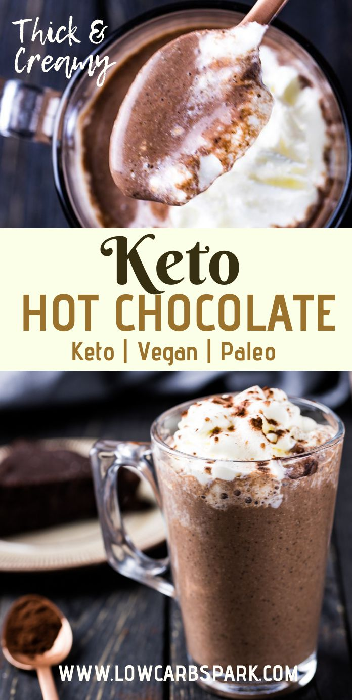 This keto hot chocolate drink is insanely thick and creamy with a rich chocolate taste. It has only 2g net carbs and a pudding texture. You can turn this drink into a bulletproof hot chocolate by adding some extra fats. A keto chocolate drink that\'s made with coconut milk and high-quality ingredients for the best taste and keto macros. Recipe via @lowcarbspark #ketohotchocolate #ketodrink #ketosis #sugarfree #drinks #ketochristmas