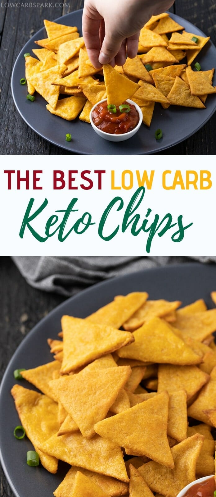 Try these brilliant keto tortilla chips are made with mozzarella cheese and almond flour. Perfect low carb chips for dipping in guacamole or salsa. You will need to use a microwave or a double boiler to make these fathead dough chips. Enjoy chips that are low carb, Atkins diet friendly, low carb high fat, grain-free, gluten-free. #ketochips #ketosnacks #lowcarb via @lowcarbspark