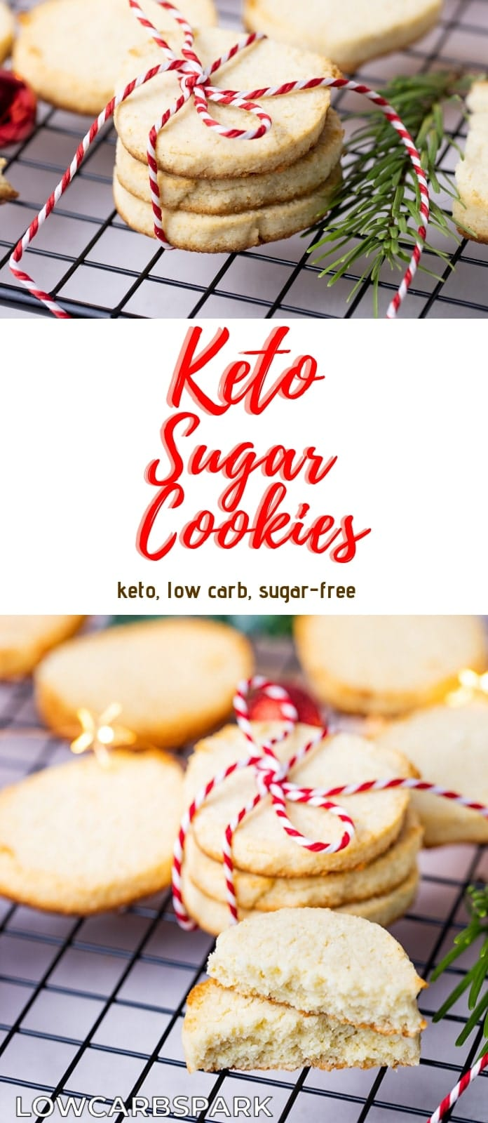 These keto sugar cookies are not only easy to make but low carb. They are soft on the inside, crunchy on the outside and buttery. It\'s a classic  Christmas Cookie Recipe made without sugar and grains. To make these sugar cookies, you will need almond flour and coconut flour.  It\'s a pleasure to make these easy keto sugar cookies. Recipe via @lowcarbspark | www.lowcarbspark.com