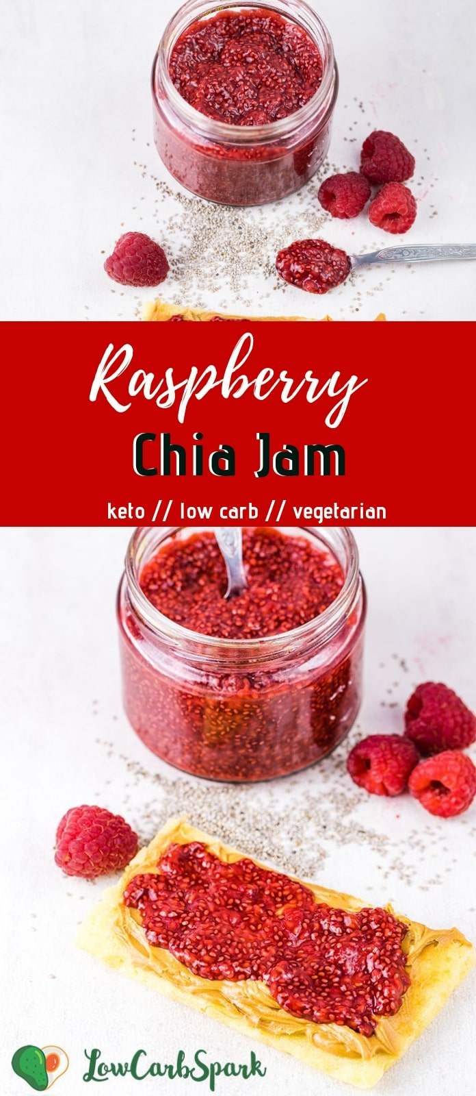 This 4 ingredients Raspberry Chia Seed Jam is ready in 10 minutes, and it\'s absolutely delicious. Try this super easy, healthy, sugar-free and low carb jam that\'s thickened with chia seeds instead of sugar.