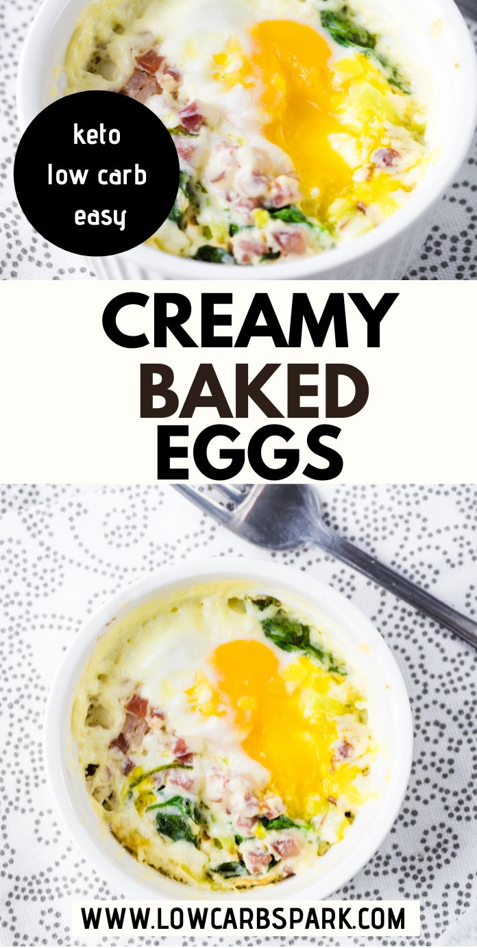 Creamy Baked Eggs with Leeks, Spinach and Bacon