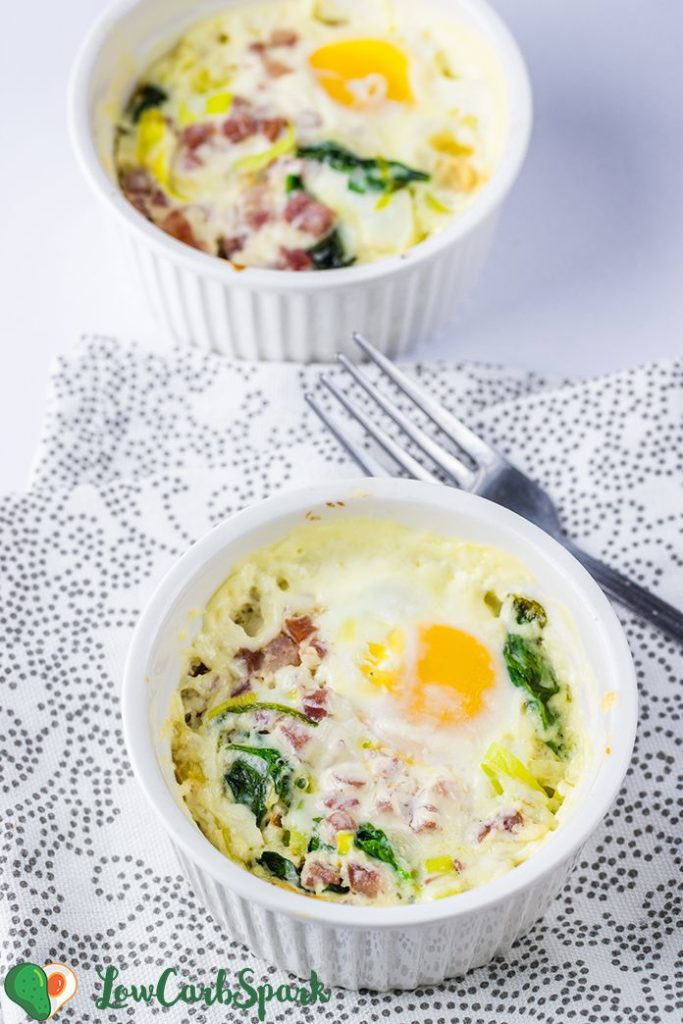 keto baked eggs with leeks and spinach
