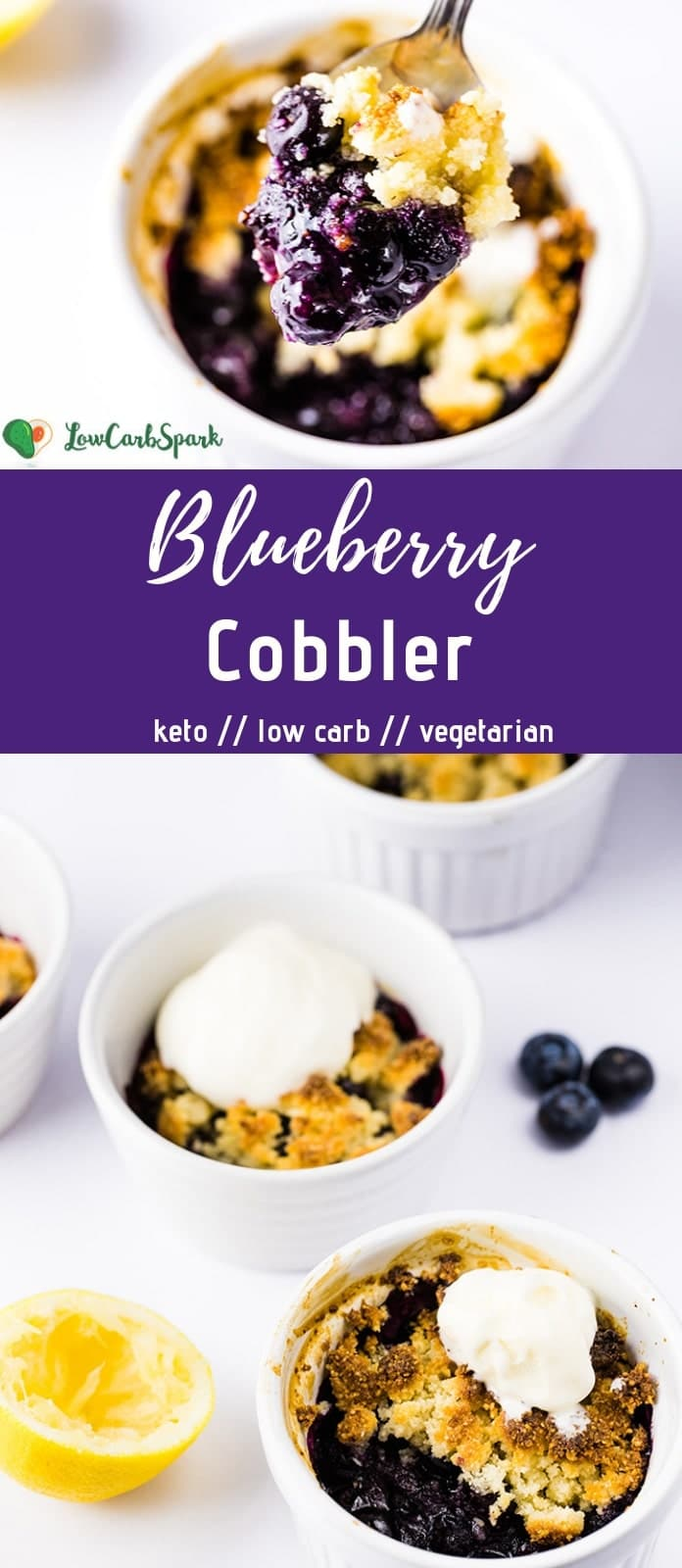 This Keto Blueberry Cobbler is a quick and easy keto dessert that\'s very versatile and low in carbs.  The blueberry filling is thick and bubbly with a golden almond flour topping perfect for a scoop of sugar-free ice cream or whipped cream. Recipe via @lowcarbspark | www.lowcarbspark.com