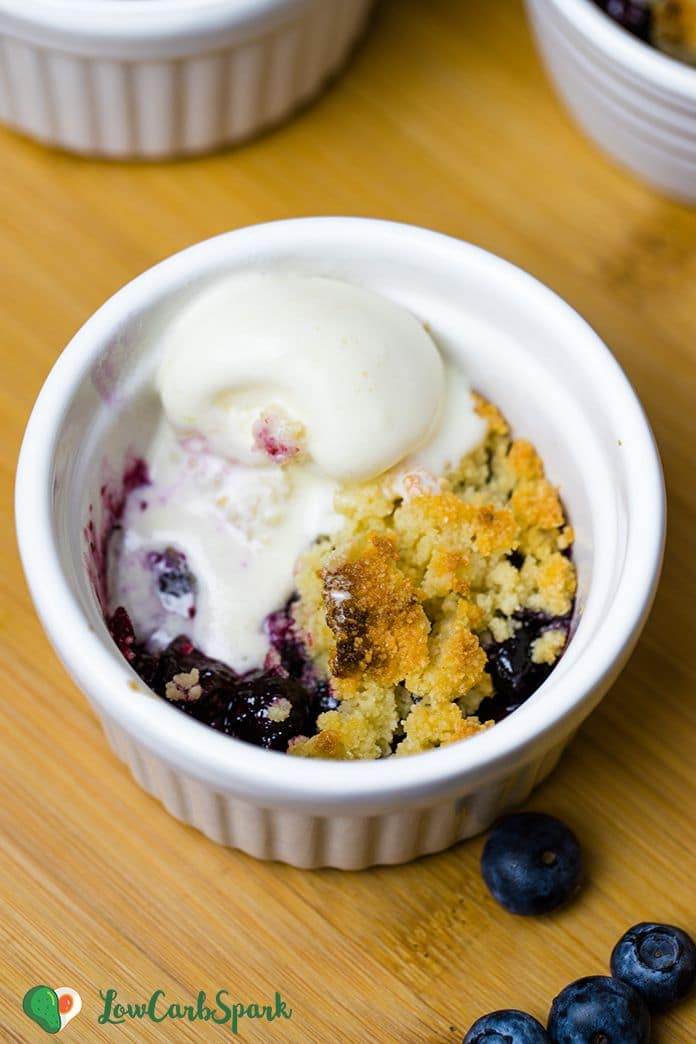 This Keto Berry Cobbler is litterally the best. Cobbler is basically an upside-down pie but without all the work. Replace the flaky pie crust with a gluten-free easy to make biscuit topping—no need to use a rolling pin or any kitchen appliances.