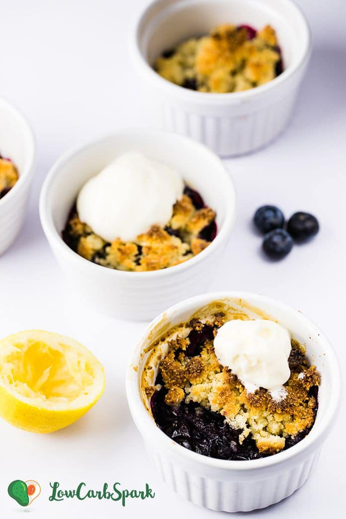 This Keto Blueberry Cobbler is a quick and easy dessert or breakfast that's very low carb and only 5g net carbs for. The blueberry filling is thick and bubbly with a golden buttery almond flour crust.