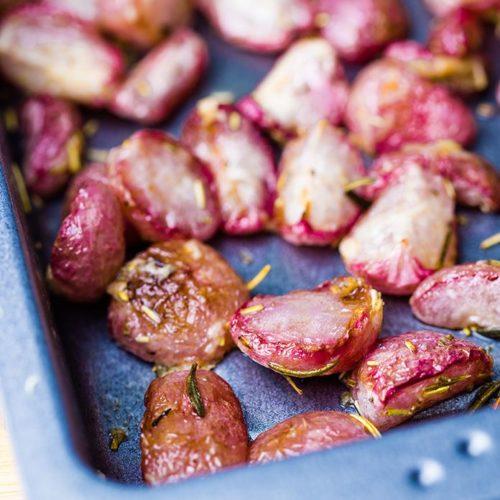 parmesan roasted radishes