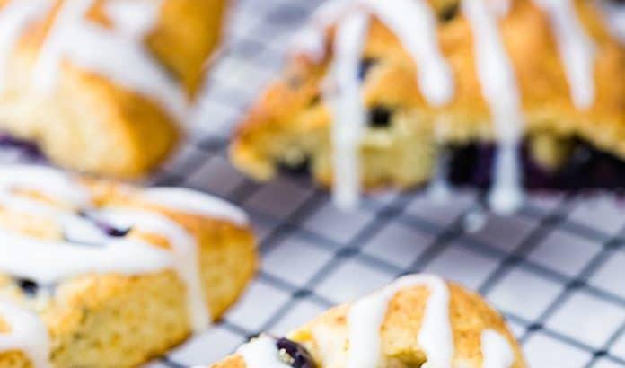 Paleo Keto Blueberry Scones with Lemon Glaze