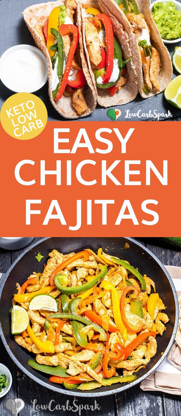 Did I mention that fajitas recipe is naturally low carb, keto, and paleo-friendly?  It\'s a colorful one-pot meal that\'s quick to make and insanely delicious. It contains only low carb ingredients: chicken breast, peppers, and onions. #fajitas