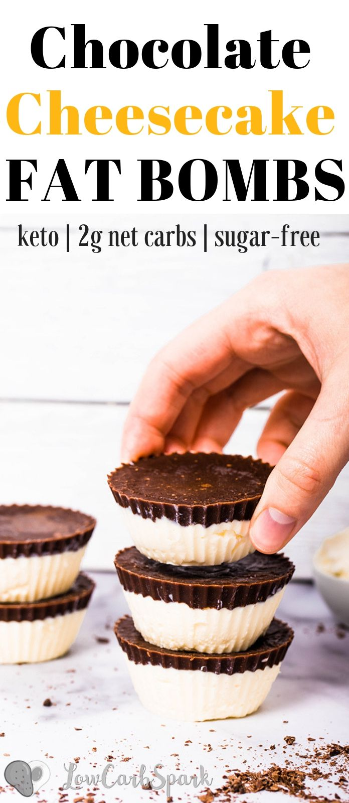 These delicious chocolate cheesecake fat bombs are quick and easy to make. Only 5 low carb ingredients are needed for these incredibly creamy and delicious 1g net carbs fat bombs. #fatbombs