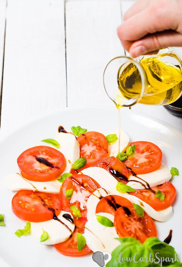 keto caprese salad with balsamic glaze and basil