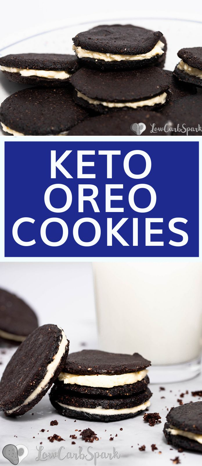 These keto oreo cookies are just like the original, but only 1g net carbs each and grain-free. Imagine a crunchy chocolate cookie sandwich with a delicious vanilla cream filling.