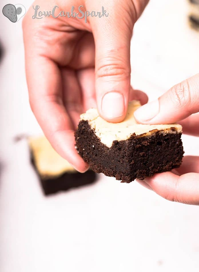 These Keto Cheesecake Brownies are the most delicious invention ever. Each square is insanely chocolatey, rich, fudgy and perfectly paired with a creamy cheesecake filling. And for only 1.5g carbs I think we have a pretty good deal!