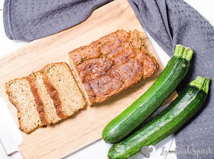 The easiest keto zucchini bread recipe! It's super moist, perfectly spiced and low in carbs bread with grated zucchini, cinnamon, nutmeg, and optional walnuts or pecans.