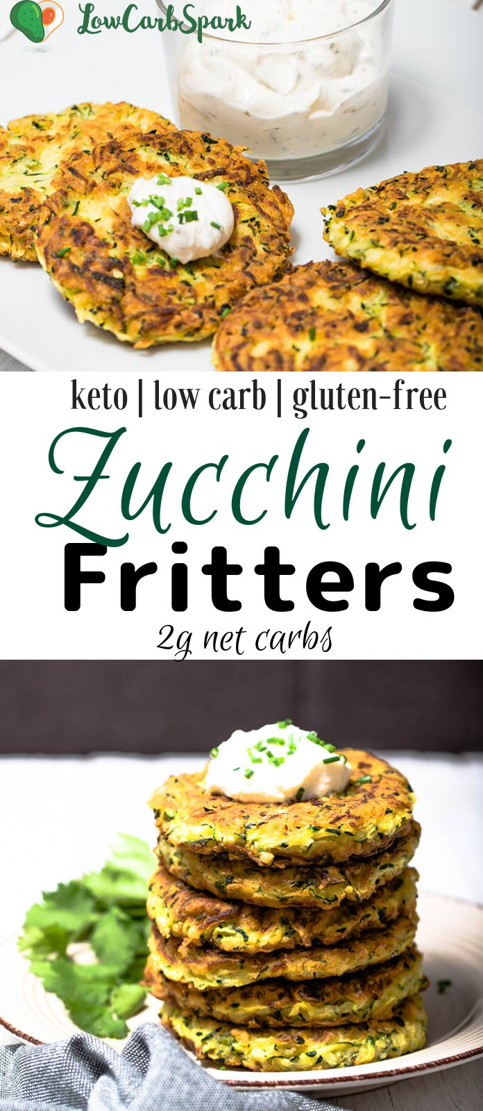 These zucchini fritters are extremely easy to make, low in carbs and family friendly. Keto zucchini pancakes that are delicious served warm with sour cream, fantastic for meal prep and the perfect snack for summer. #zucchinifritters #zucchini #ketorecipes