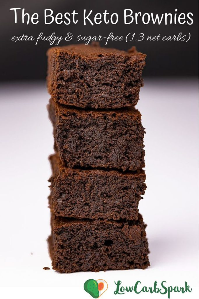 The Best Keto Brownies - Easy to make, extra fudgy, sugar-free, grain free and only 1.3g net carbs. #ketobrownies