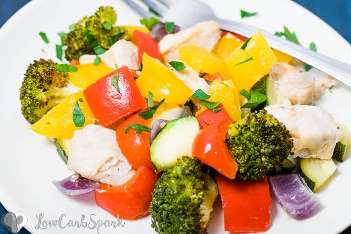 Roasted Vegetables and Chicken is a healthy, flavorful recipe, that's super easy to whip up. The veggies have a perfect texture, the chicken us juicy and perfectly tender. It's an ideal recipe for meal prep.